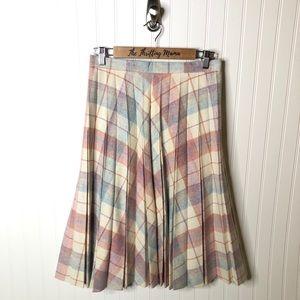Vintage Cottage Core Wool Pleated Plaid Skirt